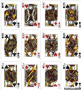在一副扑克中,只有jqk的牌面是画有人头像的