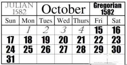 1582年10月為什么少10天_1582年消失的十天_1582年10月發生了什么